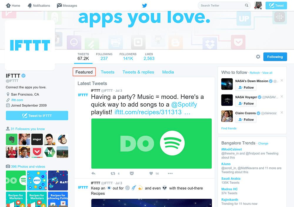 Twitter : Profil - Onglet des tweets en avant