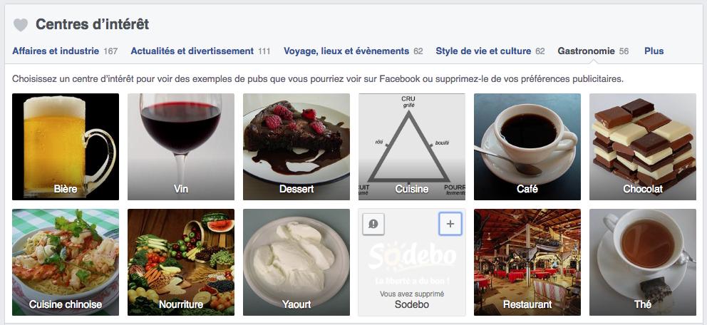 Préférences publicitaires Facebook