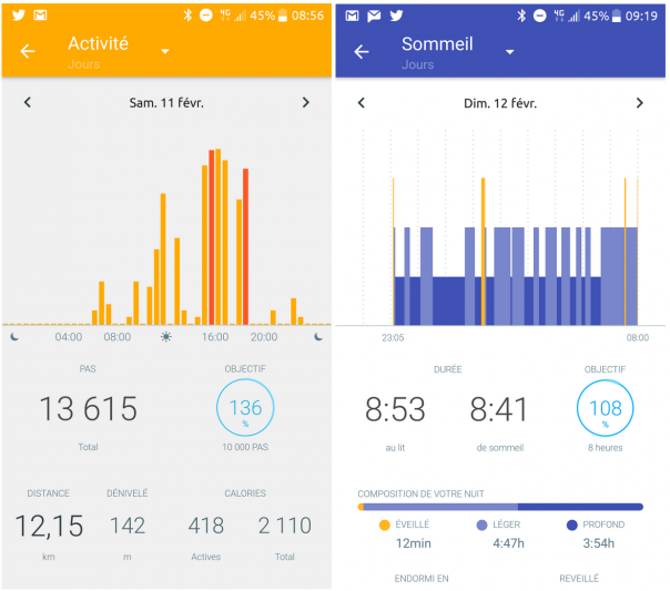 screenshot withings activité health mate