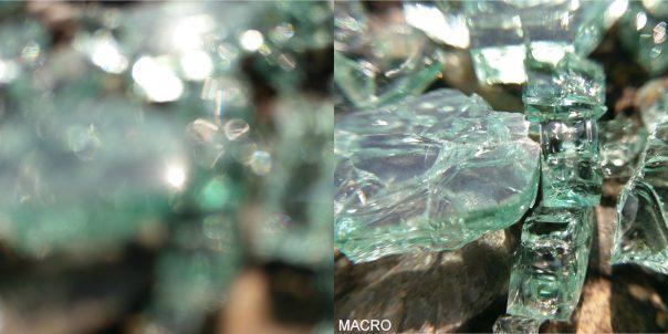 eclat de verre avec et sans macro