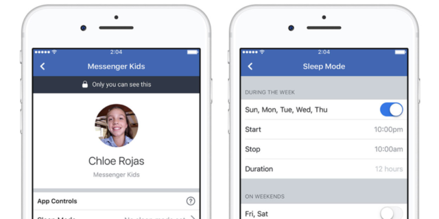 Facebook Messenger Kids : Sleep mode