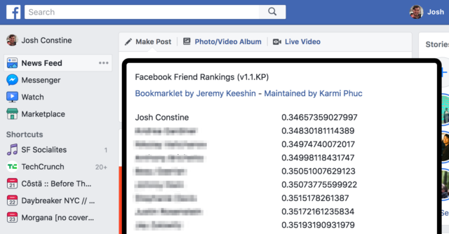 Facebook Friend Rankings - Score