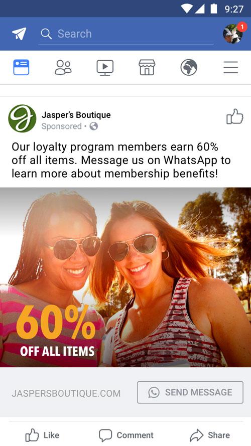 Publicité Facebook - API Business de WhatsApp