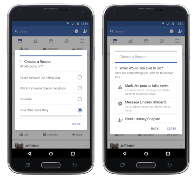 Facebook : Signalement fake news