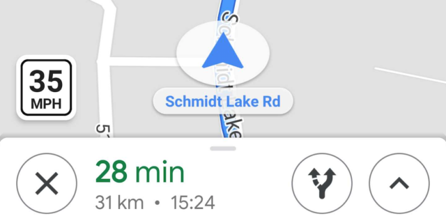 Google Maps : Vitesse limite