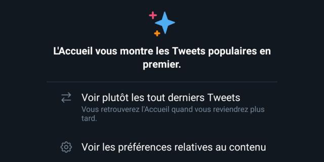 Timeline Twitter : Derniers tweets VS tweets populaires