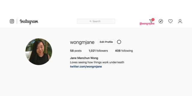 Instagram Direct sur le site internet