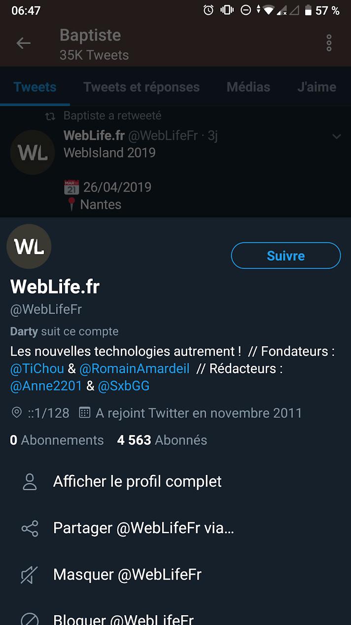 Twitter : Aperçu de profil utilisateur depuis la timeline