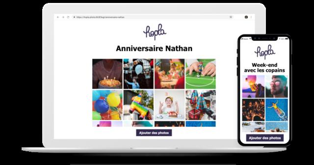 Hopla - apercu sur smartphone et laptop