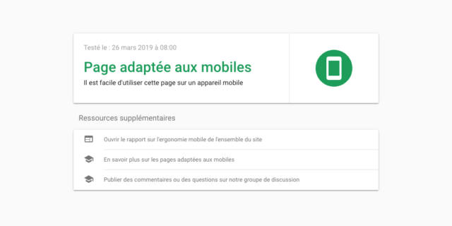 Google : Test d'optimisation mobile