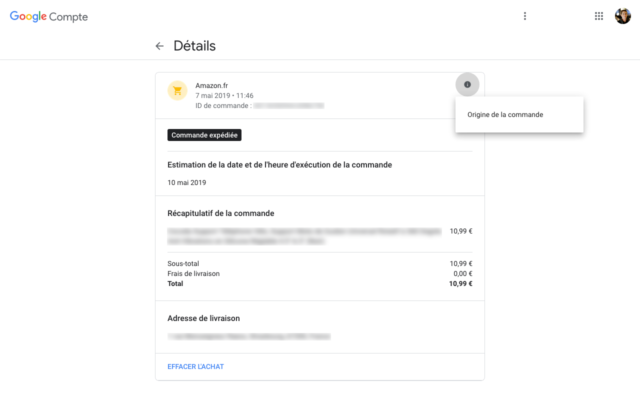 Compte Google : Détails d'un achat