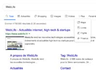 Google : Page de résultats avec pictogrammes pour les services
