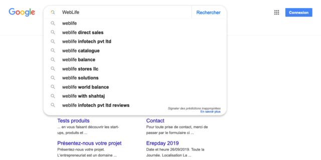 Google : Bouton Rechercher & suggestions avec loupe