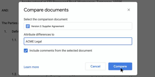 Google Docs : Comparer des documents