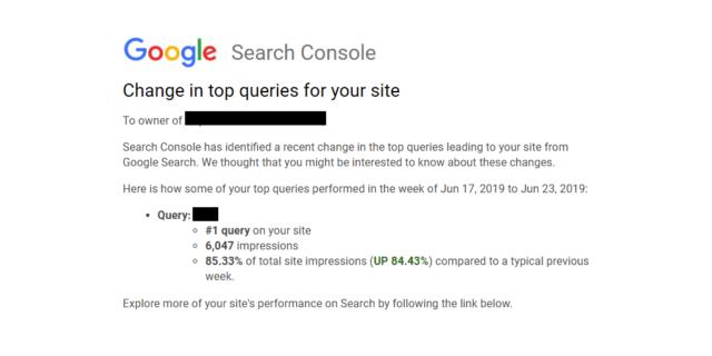 Google Search Console : Changement dans le top des requêtes