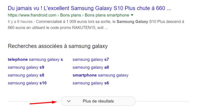 """Google : Pagination infinie - Bouton """"Plus de résultats"""""""