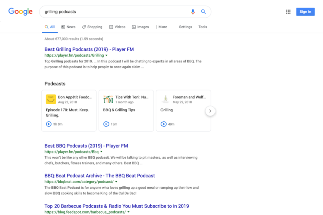 Google : Podcasts - Page de résultats de recherche