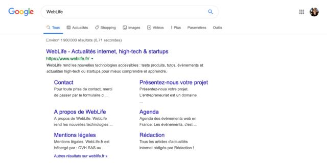 Google : Taille augmentée de la typographie dans les résultats de recherche