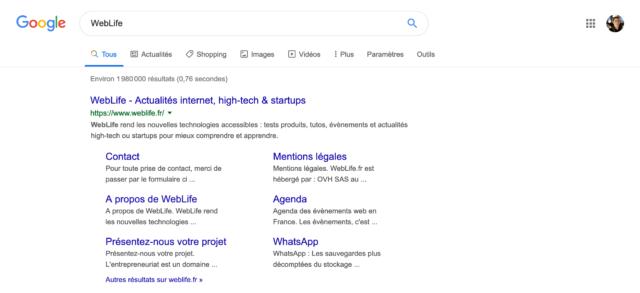 Google : Taille normale de la typographie dans les résultats de recherche